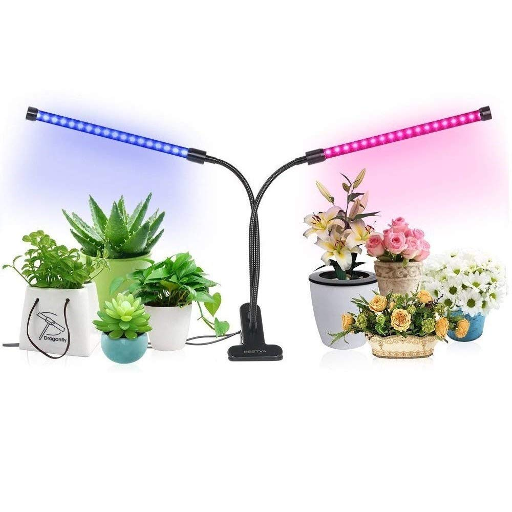 [2018 Upgraded] 18W Dual Head Timing LED Grow Lamp 36 LED Chips 2-Mode with Red/Blue Spectrum for Indoor Plants, Timer 3/6/12H, 5 Dimmable Levels, Adjustable Gooseneck