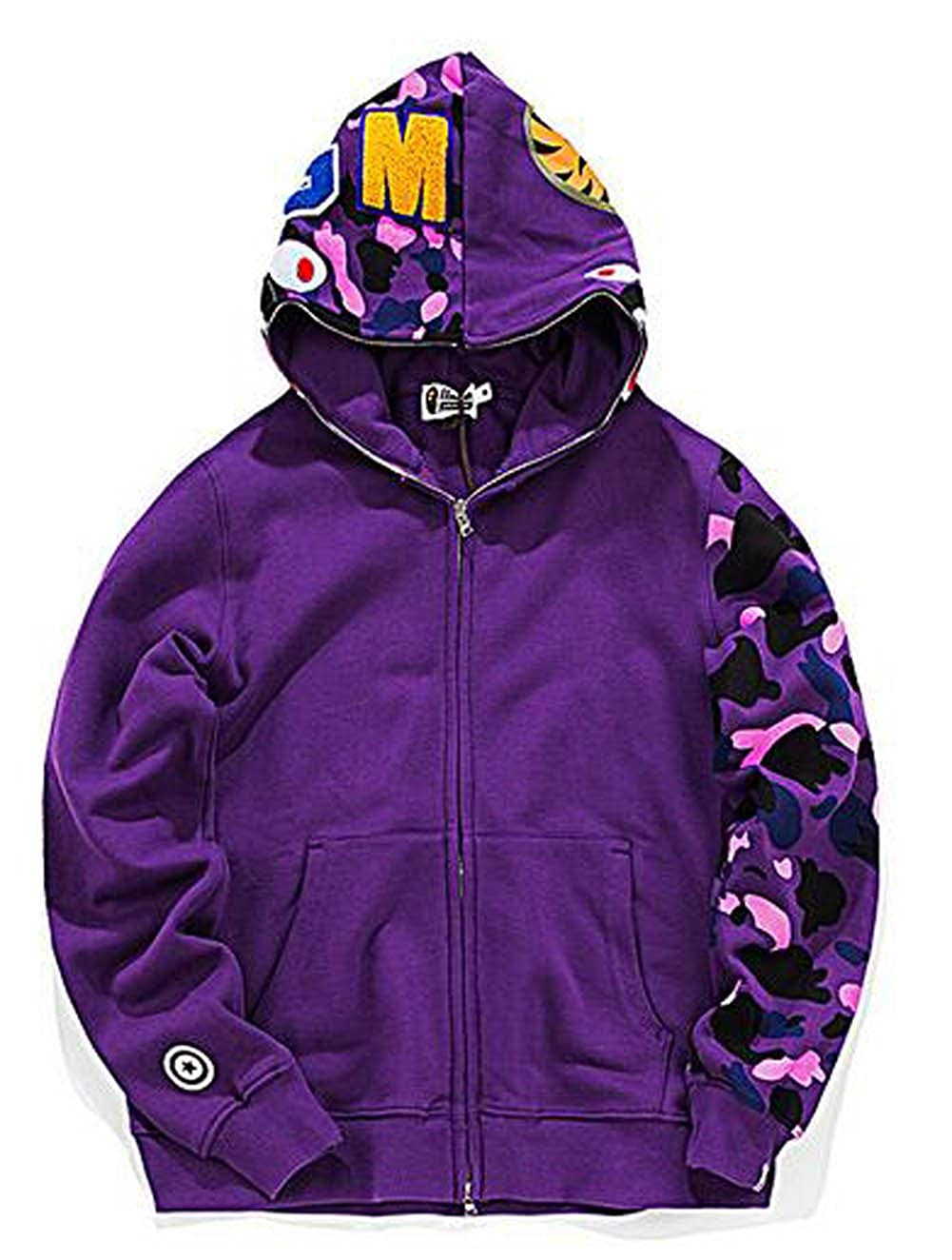 ad8287df0 Amazon.com: Scarlett Mens Hoodies Ape Bape Sweatshirt Fashion Outdoor  Tracksuit Casual Hip-Hop Funny Coat: Clothing