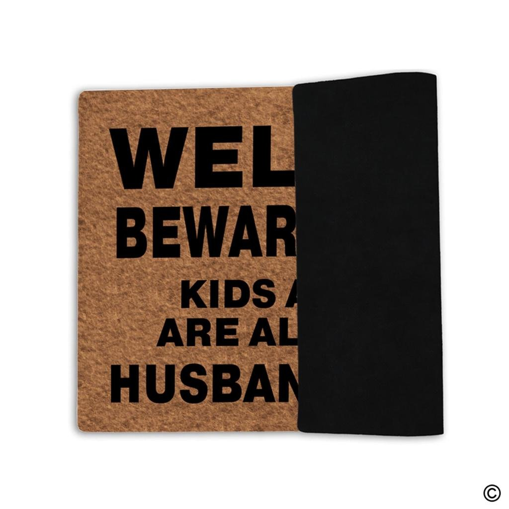 MsMr Doormat Entrance Floor Mat Funny Door Mat Welcome Beware Of Wife Kids And Pets Are Also Shady Husband Is Cool Non-slip Doormat Machine Washable Non-woven Fabric Top 23.6''X15.7'' by MsMr (Image #2)