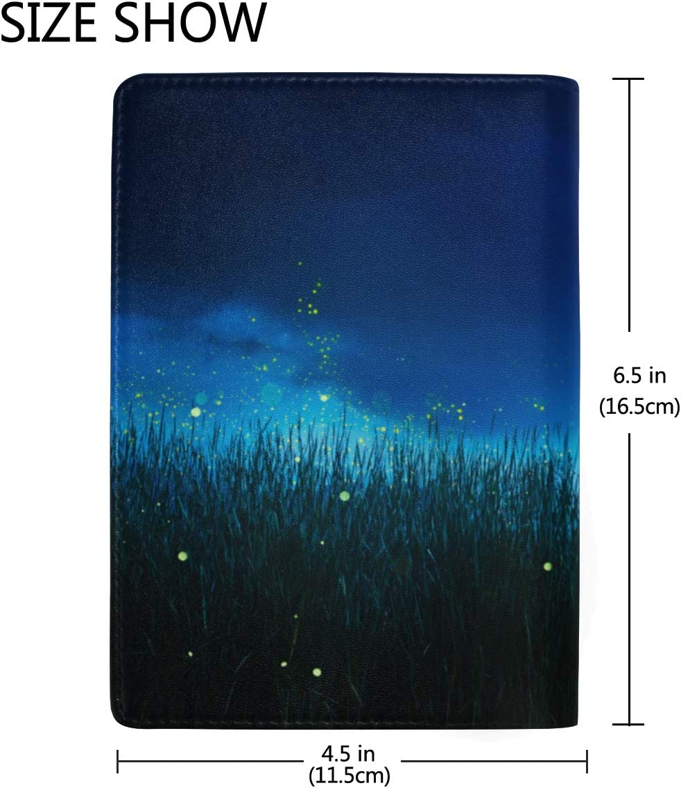 Many Fireflies Flying In The Fores Blocking Print Passport Holder Cover Case Travel Luggage Passport Wallet Card Holder Made With Leather For Men Women Kids Family