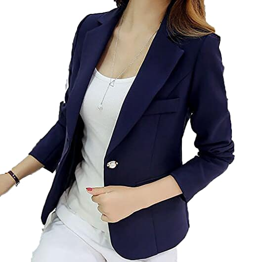 Jotebriyo Women s Slim Fit Lapel Pure Color One Button Stylish Blazer  Jacket Suit Coat at Amazon Women s Clothing store  d94df90432