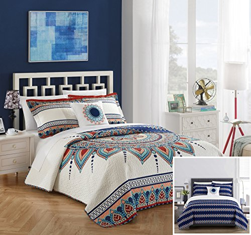 Chic Home 4 Piece Cypress Reversible Quilt Cover Set, Queen, Blue,