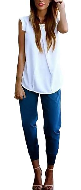 Tops Mujer Elegante Verano Cuello Redondo Sin Mangas Chiffon Ropa Dama Moderno Blusas Color Sólido Anchas Casual Moda Camisetas: Amazon.es: Ropa y ...