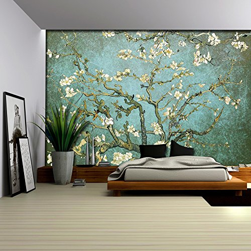 Aqua with Teal Vignette Almond Blossom by Vincent Van Gogh Wall Mural