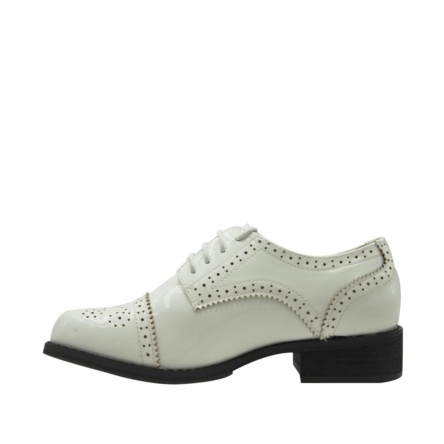 GottaBe Womens Perforated Lace-up White Leather Oxfords Shoes - Oxfords Shoes Women - Vintage Oxford Shoes(9) by GottaBe (Image #2)