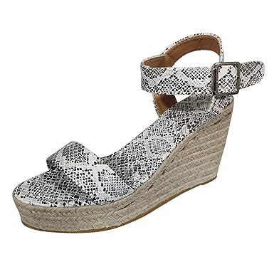 566f745e9be Women's Wedge Sandals Summer Ankle Buckle Strap High Platform Sandal ...