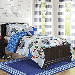 4pc Kids Grey Knights Themed Comforter Full Queen Set, Gray Medievil Knight Bedding Boys, Blue Polyester, Medevil Middle Ages Night Castles Battle Dragon Shields Old Times