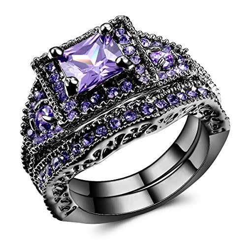 Carfeny Purple Swarovski Elements Crystal Black Gold Plated Couple Rings for Women