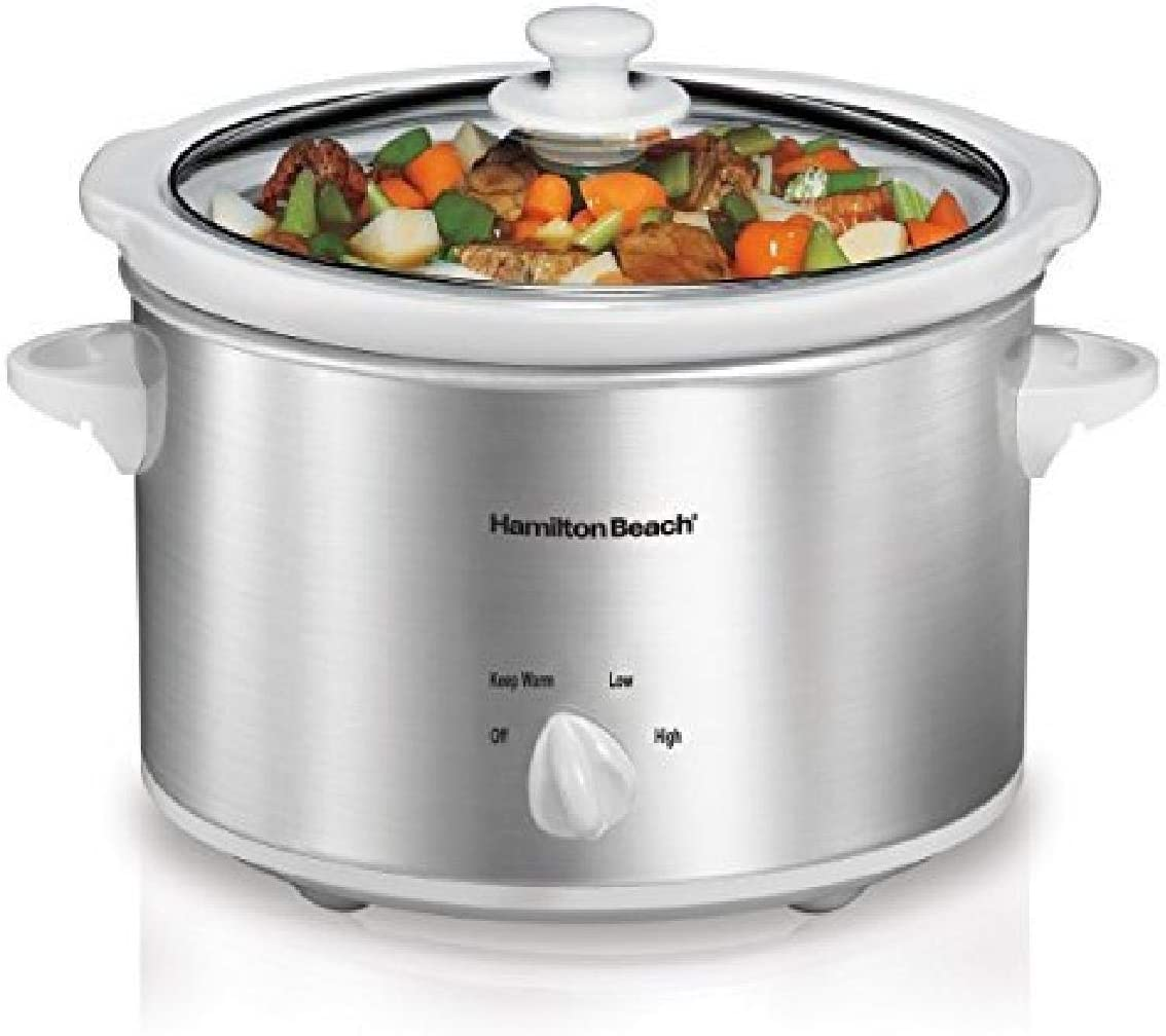 Hamilton Beach 4-Quart Slow Cooker with Dishwasher-Safe Stoneware Crock & Lid, Stainless Steel (33140V)