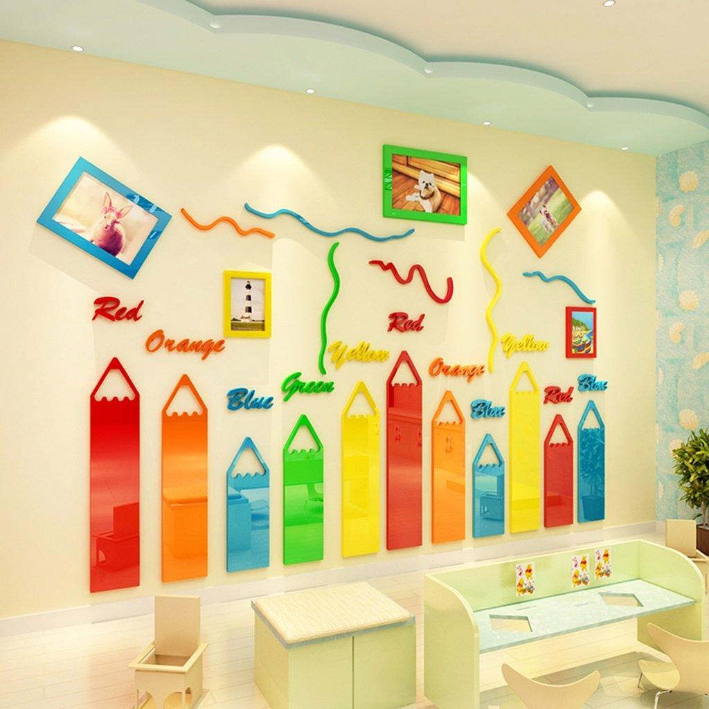 DWW-Wandsticker Wandaufkleber Acryl wasserdicht Buntstifte Kinderzimmer Wanddekoration 3D Stereo Fotowand Aufkleber Wandsticker ( größe : S )