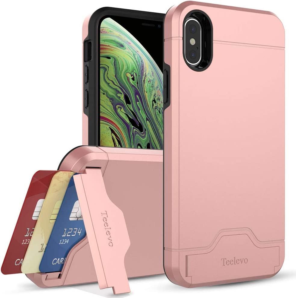 Teelevo Wallet Case for iPhone Xs (2018), Dual Layer Case with Card Slot Holder and Kickstand for iPhone Xs and iPhone X - Rose Gold