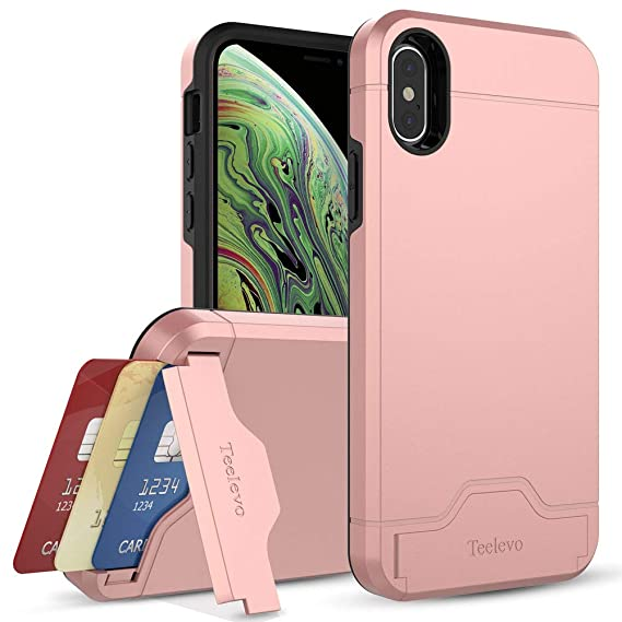 online store e77d3 4839b Teelevo Wallet Case for Apple iPhone Xs (2018) and iPhone X (2017) with  Card Slot Holder and Kickstand - Rose Gold