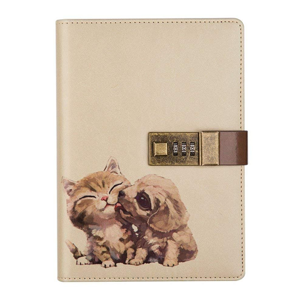 Aimeio PU Leather Password Notebook Writing Journal Planner Organizer Privacy Journal Combination Lock Diary with Pen Holder,B6 Size Cute Cat&Dog,224 Pages
