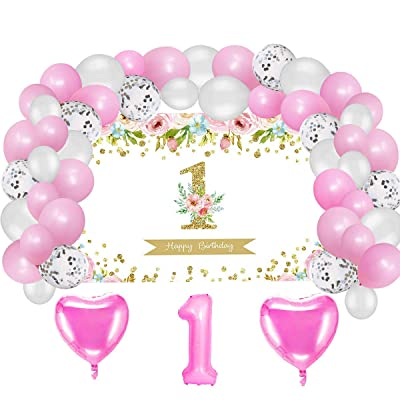 Girl First Birthday Party Supplies Decorations, Pink and Gold Backdrop and Balloons Kit for Girls 1st Birthday Photo Background, (No Banner Cake Topper, Favors and Flatware): Toys & Games