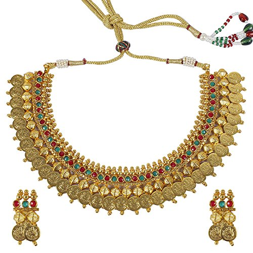 MUCH-MORE Fabulous Ethnic Style Beautiful Gold Tone Polki Necklaces Sets Jewelry for Women (2026) (Best Wedding Saree Color For Dark Skin)