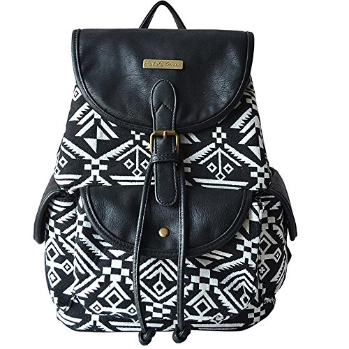 wuudi Retro Faux Leather and Canvas Tribal Printing Backpack for Women white and black