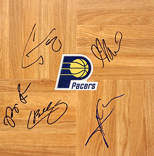 (Indiana Pacers 2015-16 Team Signed Autographed Basketball Floorboard)