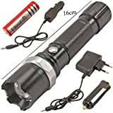 Lista Swat Multifunction Rechargeable Led 50W Flashlight Torch With Luxeon 3 Watt Led Bulb + AC Adaptor + 12V DC Car Charger + Rechargeable Battery
