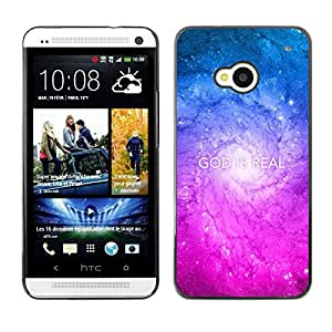 Planetar® ( Bible Verse-GOD IS REAL ) HTC ONE / M7 Fundas Cover Cubre Hard Case Cover