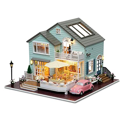 Amazon Com Yamix Dollhouse Miniature With Furniture Diy Wooden