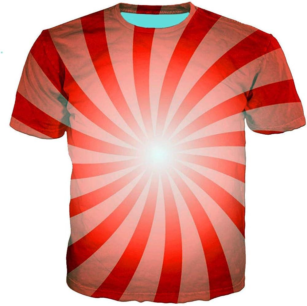Camiseta Manga Corta Hombre Verano 3D Tira roja Grafiti Impreso Unisex Club Street Adolescente Casual Manga Media Camisetas Juvenil Vacaciones Playa Deporte Hip Hop, S: Amazon.es: Ropa y accesorios