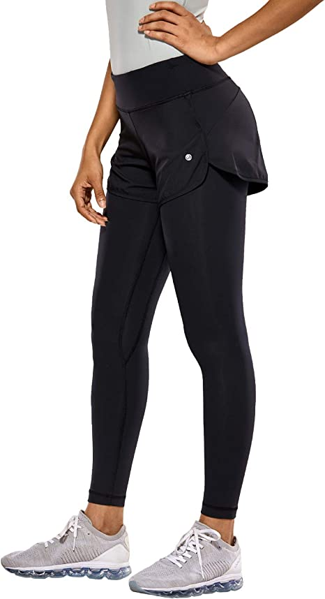 CRZ YOGA Womens Luxury Mid-Rise 2 in 1 Tight Sports Jogging Fitness Legging-25 inches