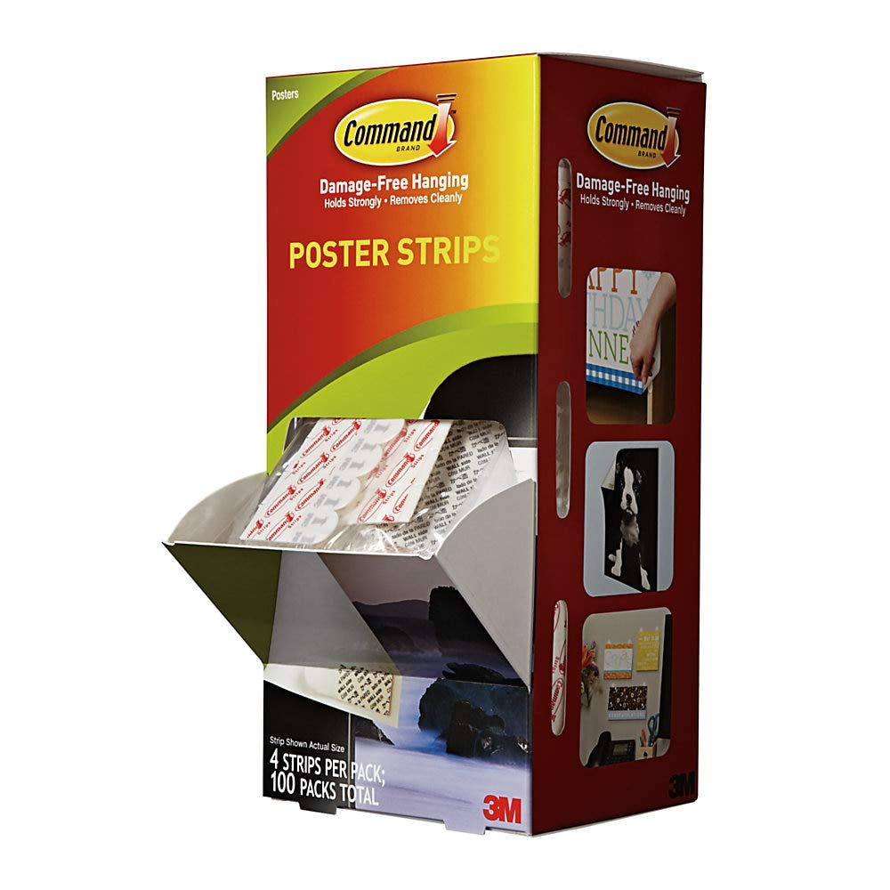 """3M Command Poster Strips, 2-2/16"""" x 3/4"""", 4 Strips Per Pack, Box of 25 Packs"""