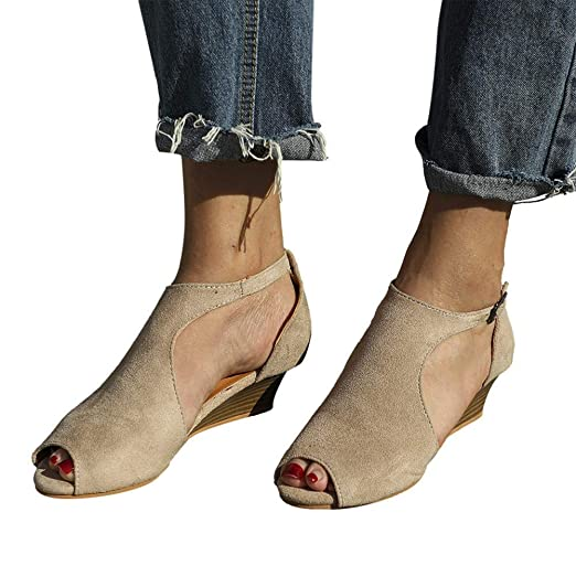 1346bea7300c7 Amazon.com  Women Ankle Flats Booties Cutout Open Toe Sandals Buckle ...