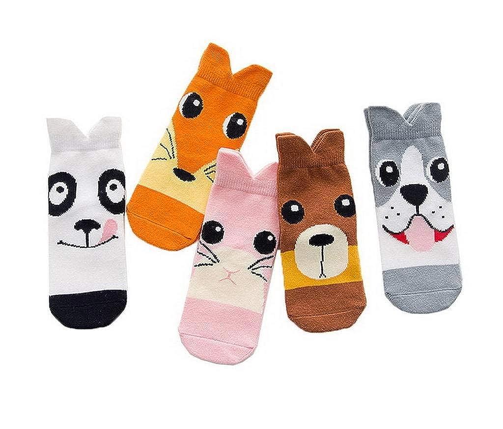 AOYOMO Children Kids Cartoon Animal Cotton Crew Socks 5 Pairs Mix Color