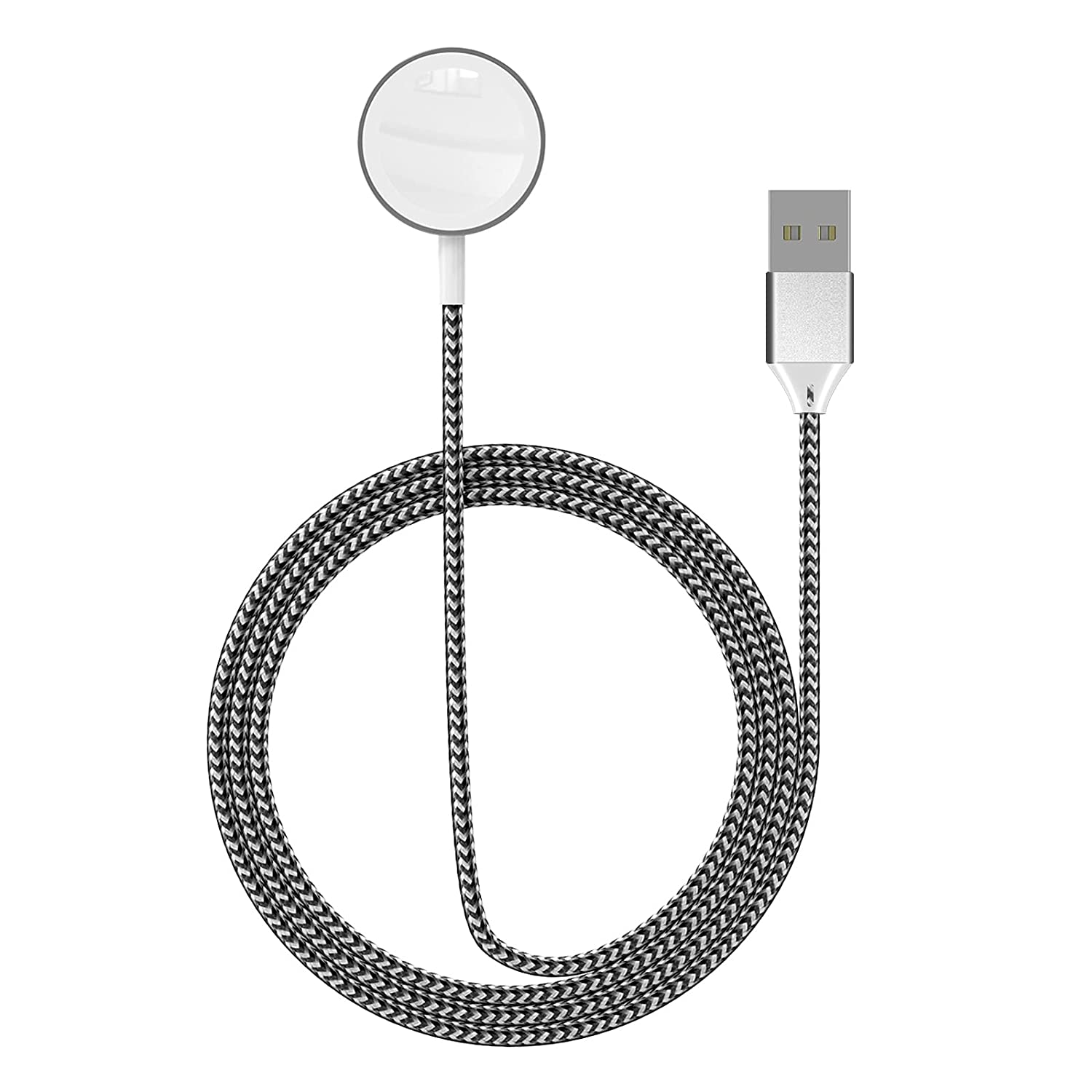 SEQI Watch Charger, 2 in 1 Magnetic Wireless Charger for, Nylon-Braided Charger Cable Compatible for Apple Watch Series 1-6/SE, for iPhone 12/11/X, for iPad and for AirPods (Light Black)