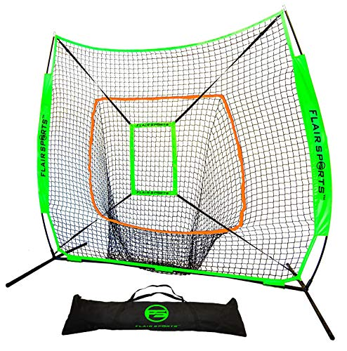 Flair Sports Baseball & Softball Net for Hitting & Pitching Heavy Duty 7x7 Pro Series | Indoor & Outdoor Training Net | Bow Frame + Bonus Strike Zone Included (Neon Green, Neon Orange)