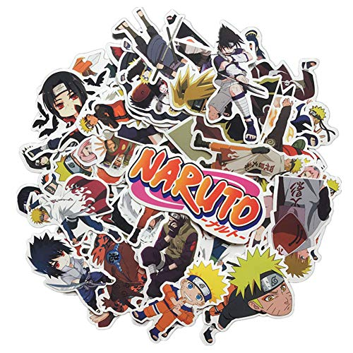 Homyu Stickers Naruto Anime Decals 63-Pcs for Laptops Cars Motorcycle Portable Luggages Ipad Waterproof Sunlight-Proof