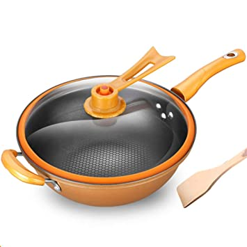 32cm Wok antiadherente Sartén de hierro, Cocina Plano Aislamiento ...