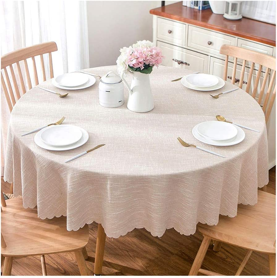 Amazon Com Tablecloths Round Linen Home Kitchen Plain Color Easy Clean Picnic Blanket For Wedding Party Dining Table Decoration Beige 240cm Home Kitchen