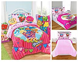 Shopkins Kids 5 Piece Bed in a Bag Twin Size Bedding Set - Reversible Comforter, Microfiber Sheets and Pillow Cases