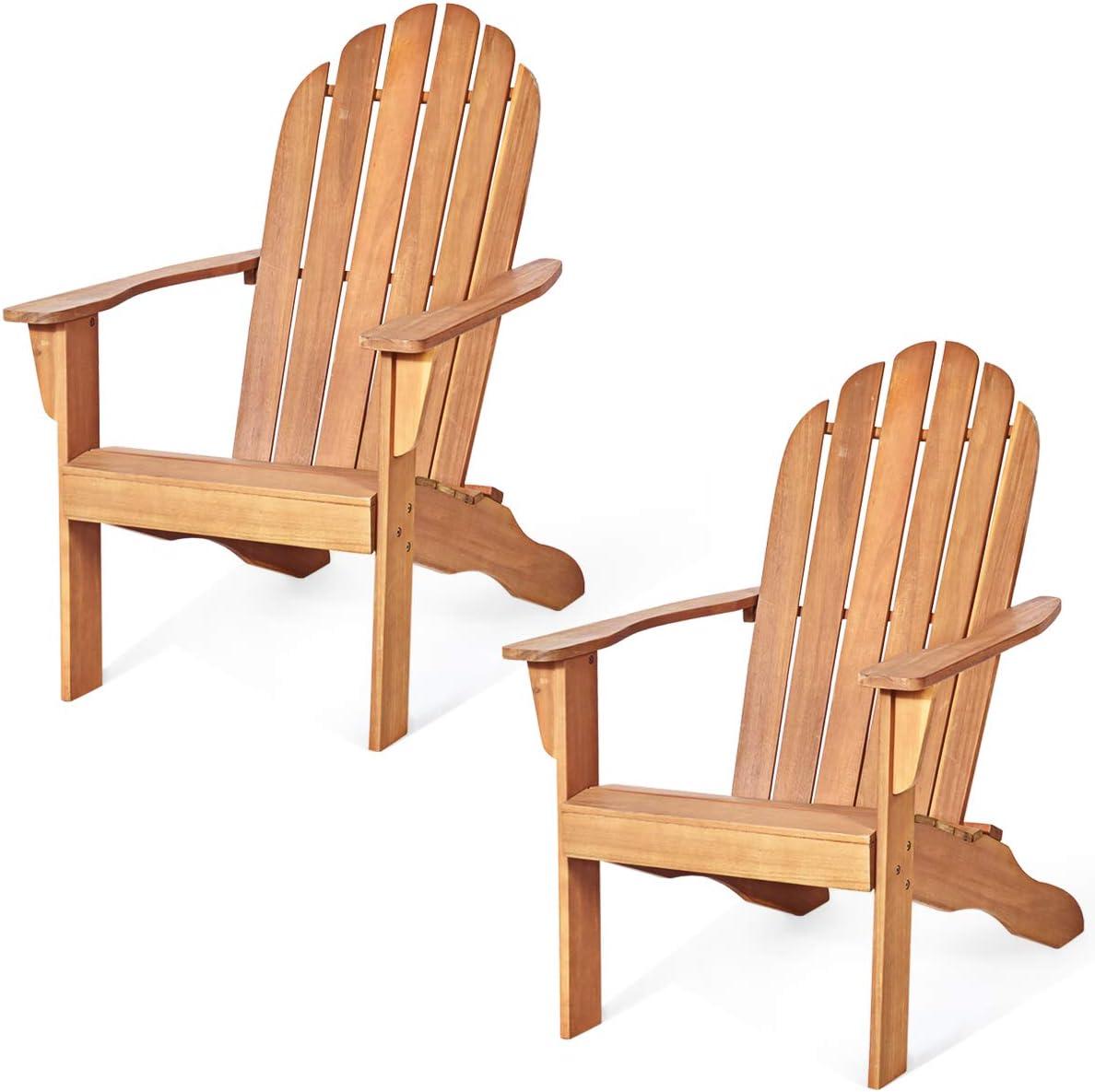 Giantex Adirondack Chair Outdoor Wooden W Ergonomic Design Acacia Chair for Yard, Patio, Garden, Poolside and Balcony Adirondack Deck Lounge Chair Armchair 2, Natural