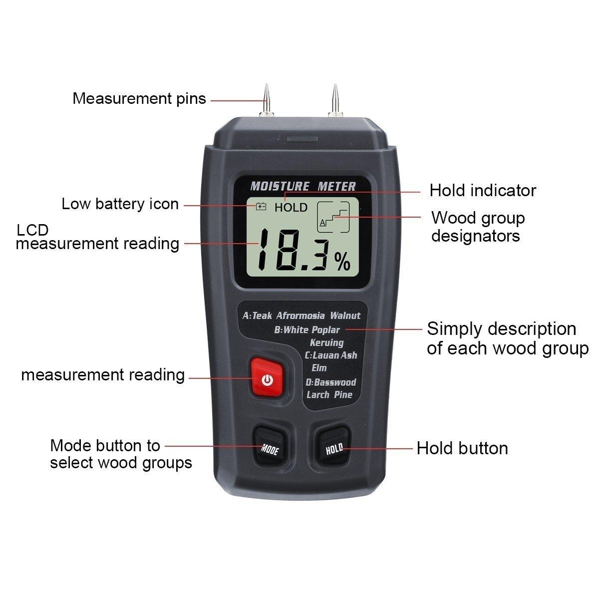 Profesional LCD Medidor de Humedad Digital,GOCHANGE 0-99% Medidor de Humedad de Madera Detector con Agujas del Electrodo Integrada/en Madera y Pared,Cartón ...