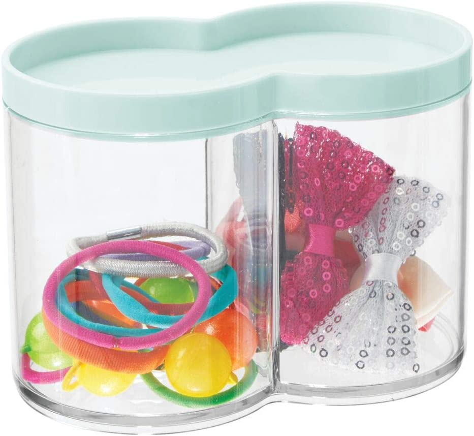 mDesign Plastic Bathroom Vanity Countertop Canister Jar with Storage Lid - Stackable - Divided, Double Compartment Organizer for Cotton Balls, Swabs, Bath Salts - Mint Green
