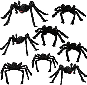 Yostyle Halloween Spider Decorations, 8Pcs Realistic Hairy Spiders Set, Scary Spider Props for Indoor, Outdoor and Yard Creepy Decor (6 Different Sizes)