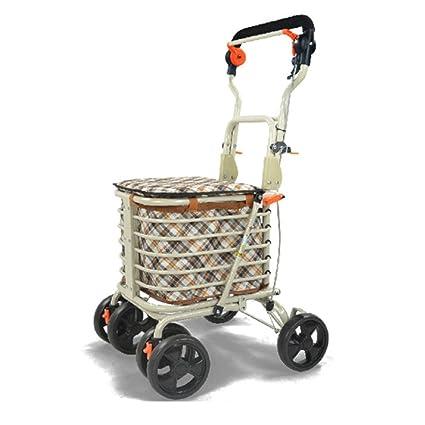 4e1a4b9d85ad Amazon.com: WE&ZHE Shopping Trolley, 4 Wheel Trolley With Folding ...