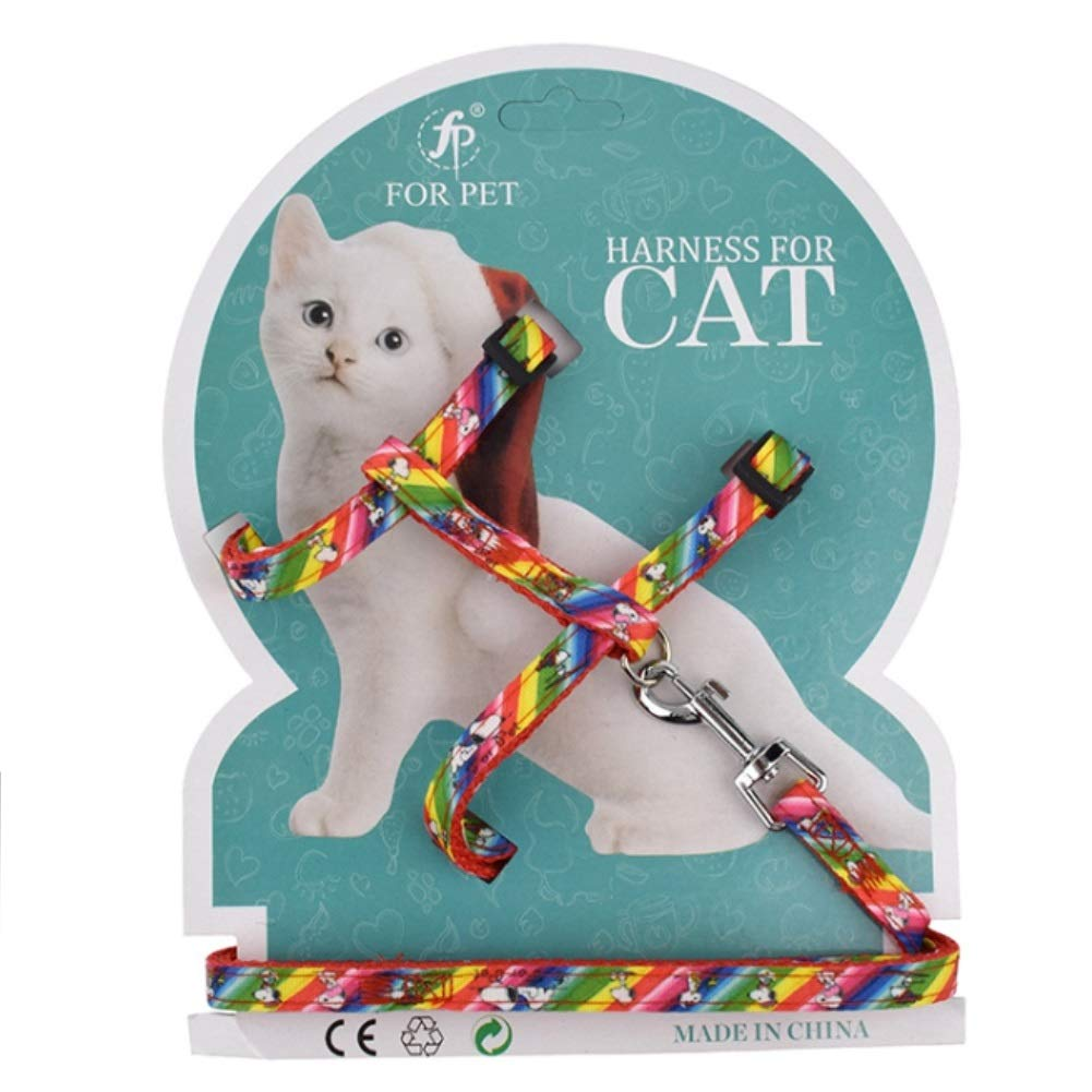 Stock Show Adjustable Cat Harness Nylon Strap Collar with Leash Safety Walking Jogging Rope for Small Cat Puppy Rainbow Style