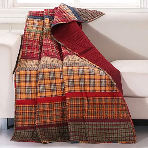 Finely Stitched Quilt Throw Lap Blanket Print Stripe Plaid Pattern Dark Yellow Gold Red Luxury Reversible Quilted Bedding - Includes Bed Sheet Straps (Log Cabin Throw Quilt)