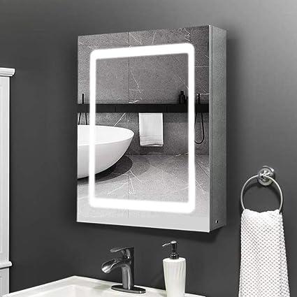 LED Illuminated Bathroom Mirror Cabinet Infrared Sensor Switch Double Doors IP44