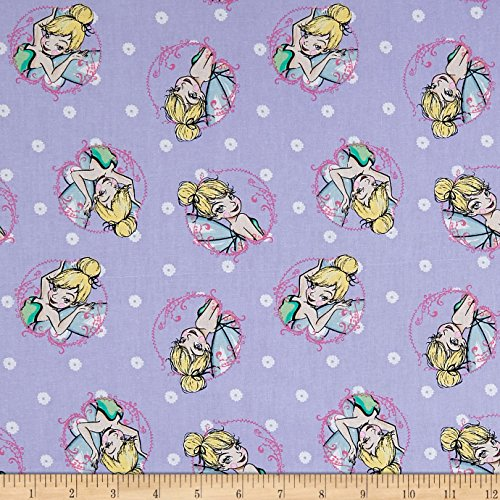 Springs Creative Products 0588924 Springs Creative Disney Tink Fashion Tinkerbell Toss Lavender Fabric by The Yard, (Tinkerbell Fabric)