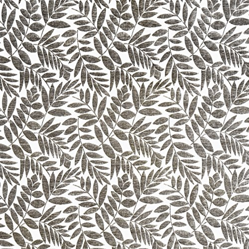 Arbor Willow Grey Grey White Silver Grey Charcoal Leaves Floral Woven Pile Upholstery Fabric by the (Willow Arbor)