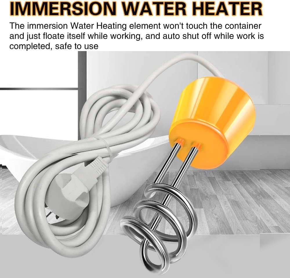 ANDRIMAX Immersion Water Heater 3000W Portable Floating Electric Stainless Steel Heater with Digital Thermometer for Quick Heat 5 Gallons of Water in Minutes Yellow
