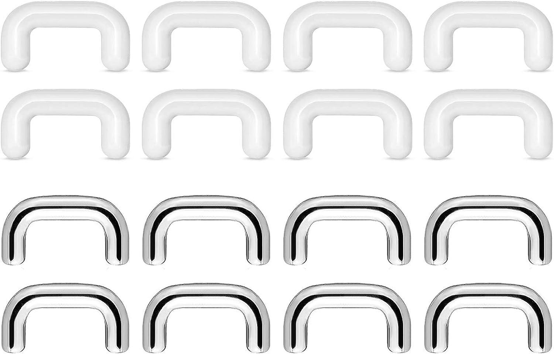 QWALIT 16g 14g Clear Septum Retainer Nose Rings Hoop Horseshoe Barbell Septum Clicker Piercing Jewelry Surgical Steel Bioflex Lip Ring Hoop Pack for Women Men Work