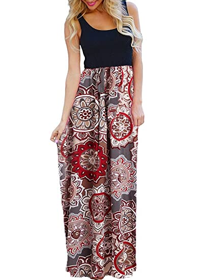 df891dde6b1 OURS Women's Ethnic Style Sleeveless Floral Print Tank Dress Geometric  Party Bohemian Long Maxi Dresses