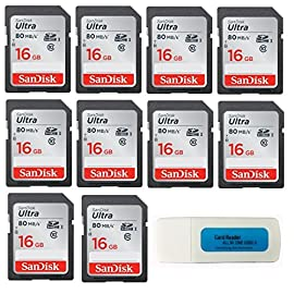 SanDisk Ultra - 10 Pack Bundle UHS-I Class 10 SD Flash Memory Card Retail (SDSDUNC) - With Everything But Stromboli (TM) Combo Card Reader 104 Great choice for compact to mid-range point and shoot cameras Exceptional video recording performance with Class 10 rating for Full HD video (1080p) Twice As Fast As Ordinary SDHC Cards, Allowing You To Take Pictures And Transfer Files Quickly