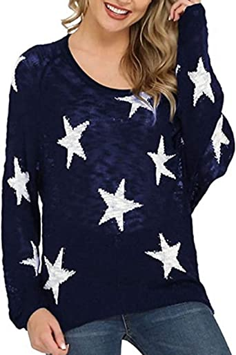 CNFIO Langarmshirt Damska Sterne Pullover Oberteile Strickpullover V-Ausschnitt Sweatshirt Shirt Pulli Herbst Tops: Odzież